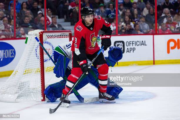Ottawa Senators Left Wing Bobby Ryan sets up a screen in front of the Vancouver Canucks goalie during second period National Hockey League action...