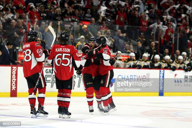 Ottawa Senators Left Wing Clarke MacArthur Ottawa Senators Defenceman Erik Karlsson Ottawa Senators Left Wing Mike Hoffman and Ottawa Senators Center...