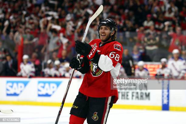Ottawa Senators Left Wing Mike Hoffman celebrates a late goal in the third period of game 1 of the second round of the 2017 NHL Stanley Cup Playoffs...
