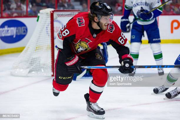 Ottawa Senators Left Wing Mike Hoffman chases the puck after a rebound during second period National Hockey League action between the Vancouver...