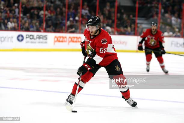 Ottawa Senators Left Wing Mike Hoffman moves the puck across the Ranger blue line during the third period in a game between the New York Rangers and...
