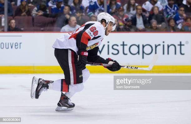 Ottawa Senators Left Wing Mike Hoffman skates against the Vancouver Canucks during a NHL hockey game on October 10 at Rogers Arena in Vancouver BC