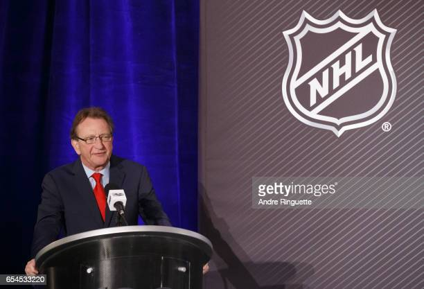 Ottawa Senators Owner Governor Chairman Eugene Melnyk speaks during the 2017 Scotiabank NHL 100 Classic announcement at the Chateau Laurier on March...