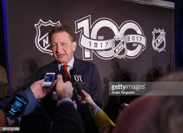 Ottawa Senators Owner Governor Chairman Eugene Melnyk speaks to media during the 2017 Scotiabank NHL 100 Classic announcement at the Chateau Laurier...