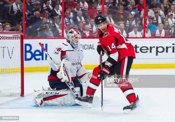 Ottawa Senators Right Wing Alexandre Burrows screens Washington Capitals Goalie Braden Holtby during the NHL game between the Ottawa Senators and the...
