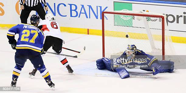 Ottawa Senators right wing Bobby Ryan scores the gamewinning goal past St Louis Blues goaltender Brian Elliott in overtime on Monday Jan 4 at the...