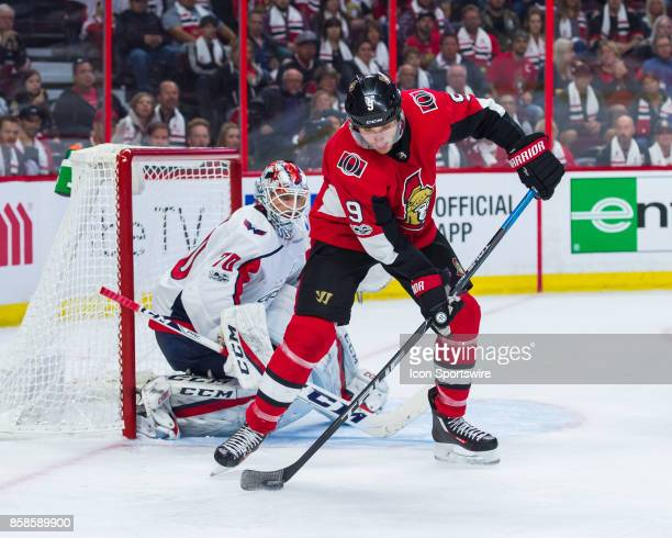 Ottawa Senators Right Wing Bobby Ryan stickhandles the puck in front of Washington Capitals Goalie Braden Holtby during the NHL game between the...