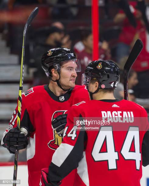 Ottawa Senators Right Wing Mark Stone is congratulated by Ottawa Senators Center JeanGabriel Pageau after his goal in the first period during the NHL...