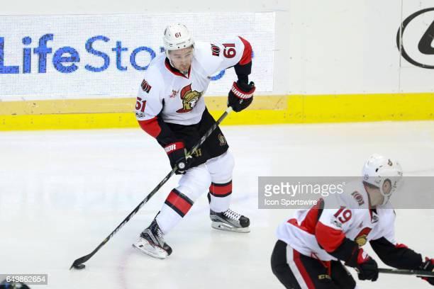 Ottawa Senators Right Wing Mark Stone takes a wrist shot during the NHL hockey game between the Ottawa Senators and Dallas Stars on March 8 2017 at...