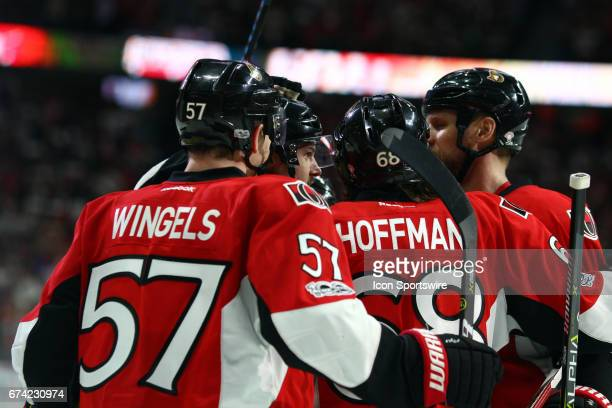 Ottawa Senators Winger Tommy Wingels Ottawa Senators Defenceman Erik Karlsson Ottawa Senators Left Wing Mike Hoffman and Ottawa Senators Defenceman...