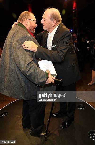 Ottfried Fischer and Ralph Siegel during Ralph Siegel's 70th birthday party at Schuhbeck's Teatro on September 30 2015 in Munich Germany