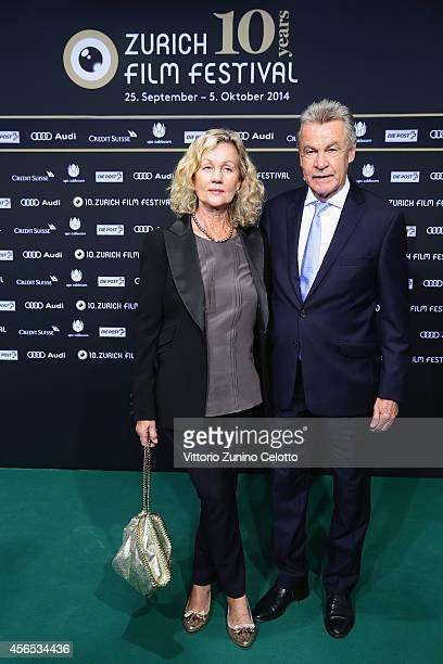 Ottmar Hitzfeld and Beatrix Hitzfeld attend the '10 Years Anniversary ZFF' Green Carpet Arrivals during Day 8 of Zurich Film Festival 2014 on October...