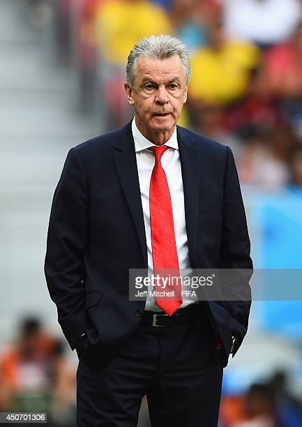 Ottmar Hitzfeld coach of Switzerland looks on during the 2014 FIFA World Cup Brazil Group E match between Switzerland and Ecuador at Estadio Nacional...