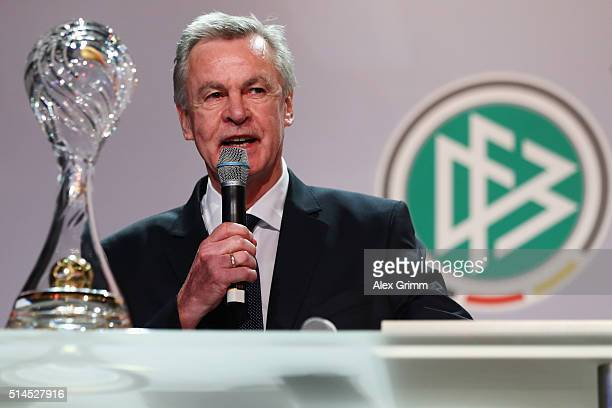 Ottmar Hitzfeld delivers his speech after receiving the lifetime achievement award during the Coaching Award Ceremony Closing Event UEFA Pro Coaching...