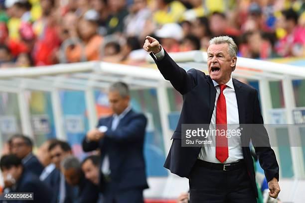 Ottmar Hitzfeld of Switzerland gestures during the 2014 FIFA World Cup Brazil Group E match between Switzerland and Ecuador at Estadio Nacional on...