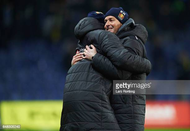Otto Addo assistant coach of FC Nordsjalland and Kasper Hjulmand head coach of FC Nordsjalland celebrate after the Danish Alka Superliga match...