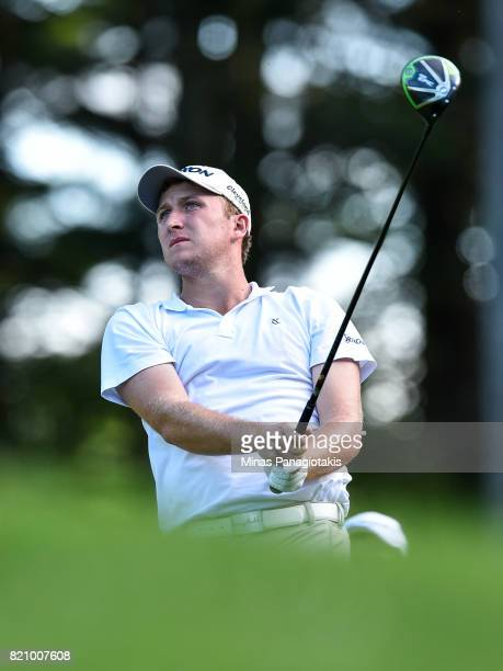 Otto Black hits his tee on the first hole during round three of the Mackenzie Investments Open at Club de Golf Les Quatre Domaines on July 22 2017 in...