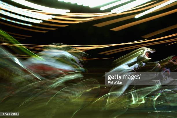Otto BlakePalmer of New Zealand rides in the 7yr old boys during day two of the UCI BMX World Championships at Vector Arena on July 25 2013 in...