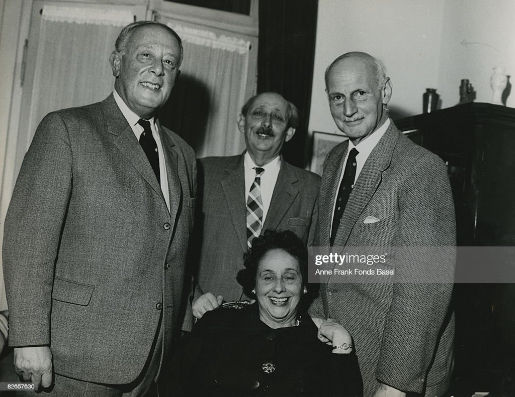 <a gi-track='captionPersonalityLinkClicked' href=/galleries/search?phrase=Otto+Frank&family=editorial&specificpeople=650673 ng-click='$event.stopPropagation()'>Otto Frank</a> (1889 - 1980, right), father of Anne Frank, with his brother Herbert, his sister Helene 'Leni' Elias-Frank and her husband Erich Elias, circa 1965.