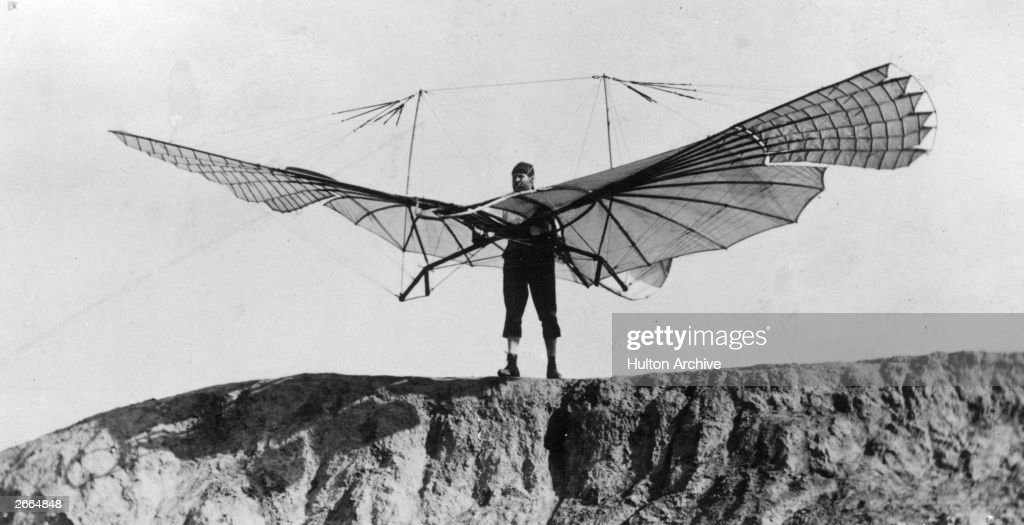 Otto Lilienthal German inventor and aeronautical engineer preparing a launch from a hill in Lichterfelde Berlin His first successful flight occurred...