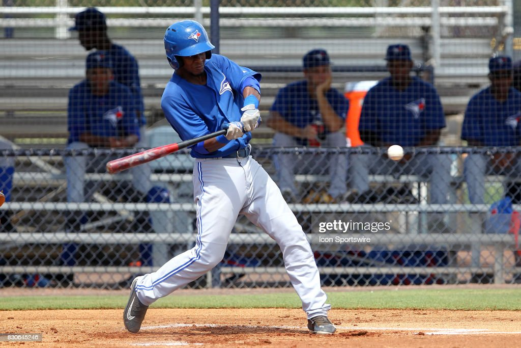 Otto Lopez (3) of the Blue Jays at bat during the Gulf Coast League game between the Blue Jays and the Yankees on August 11, 2017, at the New York Yankees Minor League Complex in Tampa, FL.