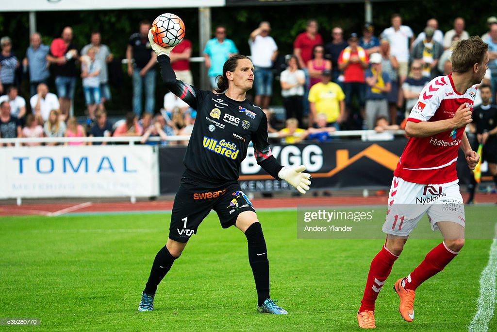 Otto Martier, goalkeeper of Falkenberg FF in action during the Allsvenskan match between Falkenbergs FF andKalmar FF at Falkenbergs IP on May 29, 2016 in Falkenberg, Sweden.