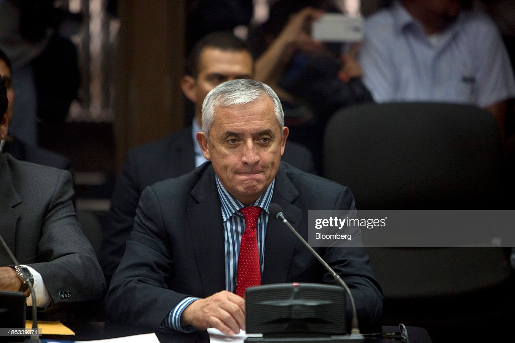 Otto Perez Molina, Guatemala's president, attends a court hearing to face corruption charges in Guatemala City, Guatemala, on Thursday, Sept. 3, 2015. Perez Molina offered his resignation to Congress as he faces arrest for alleged involvement in a bribery scandal that has already seen his former vice president jailed. Photographer: Saul Martinez/Bloomberg via Getty Images