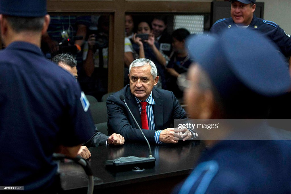 Otto Perez Molina Guatemala's president center attends a court hearing to face corruption charges in Guatemala City Guatemala on Thursday Sept 3 2015...