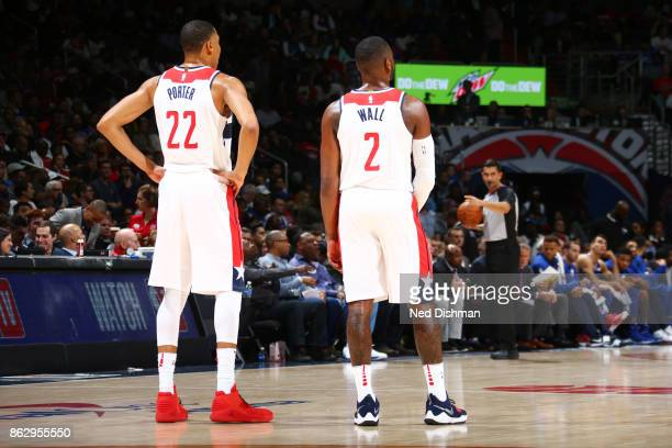 Otto Porter Jr #22 of the Washington Wizards and John Wall of the Washington Wizards are seen during the 201718 regular season game against the...
