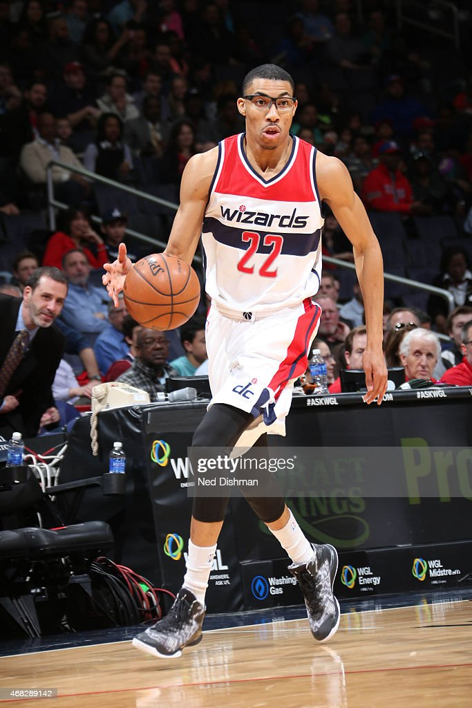 <a gi-track='captionPersonalityLinkClicked' href=/galleries/search?phrase=Otto+Porter+Jr.&family=editorial&specificpeople=10019906 ng-click='$event.stopPropagation()'>Otto Porter Jr.</a> #22 of the Washington Wizards brings the ball up court against the Philadelphia 76ers on April 1, 2015 at the Verizon Center in Washington, DC.
