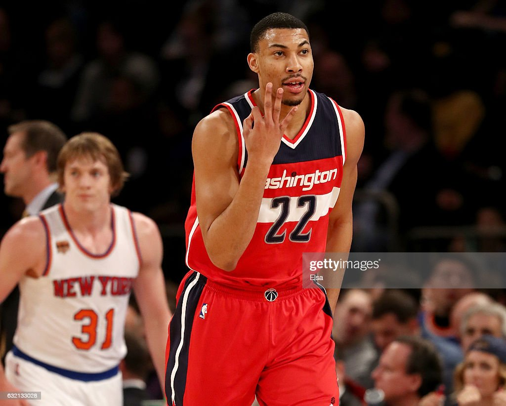 Otto Porter Jr. #22 of the Washington Wizards celebrates his three point shot in the second half against the New York Knicks at Madison Square Garden on January 19, 2017 in New York City.