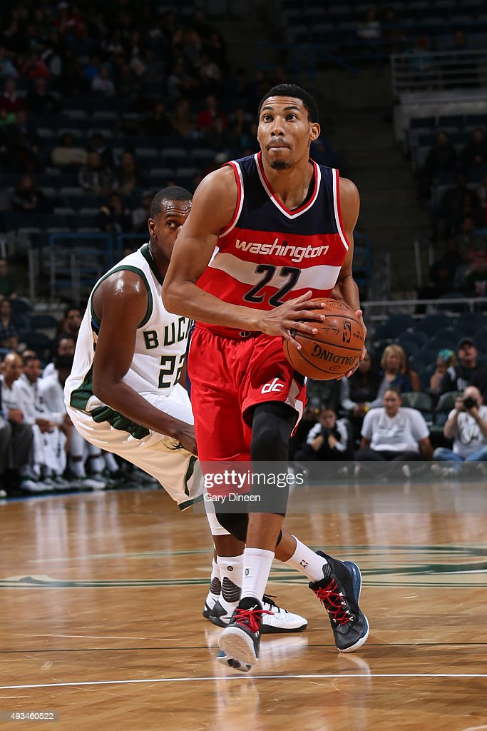 <a gi-track='captionPersonalityLinkClicked' href=/galleries/search?phrase=Otto+Porter+Jr.&family=editorial&specificpeople=10019906 ng-click='$event.stopPropagation()'>Otto Porter Jr.</a> #22 of the Washington Wizards drives to the basket against the Milwaukee Bucks during a preseason game on October 17, 2015 at the BMO Harris Bradley Center in Milwaukee, Wisconsin.