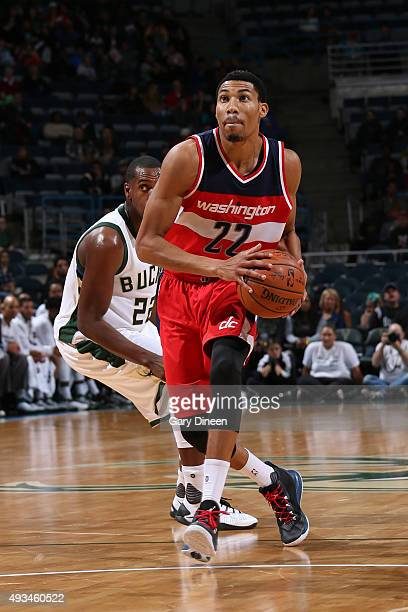 Otto Porter Jr #22 of the Washington Wizards drives to the basket against the Milwaukee Bucks during a preseason game on October 17 2015 at the BMO...