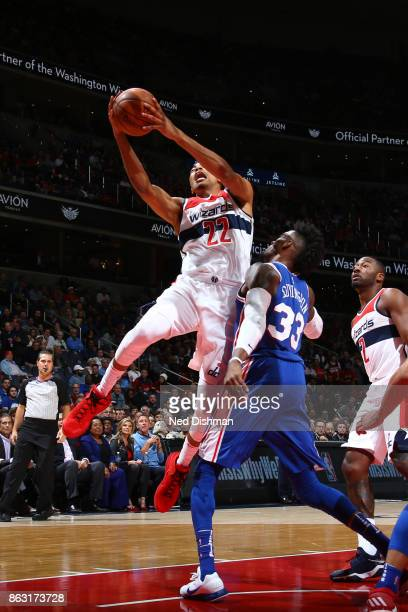 Otto Porter Jr #22 of the Washington Wizards drives to the basket against the Philadelphia 76ers on October 18 2017 at Capital One Arena in...