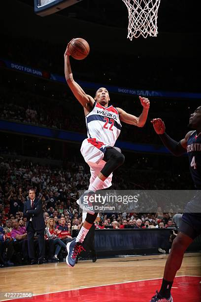 Otto Porter Jr #22 of the Washington Wizards goes up for a dunk against the Atlanta Hawks in Game Three of the Eastern Conference Semifinals of the...