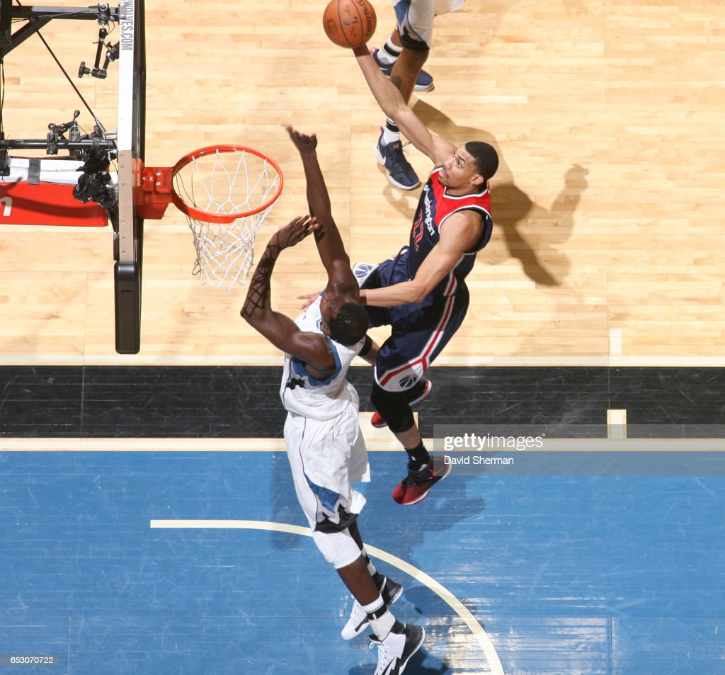 Otto Porter Jr. #22 of the Washington Wizards goes up for a lay up during a game against the Minnesota Timberwolves on March 13, 2017 at Target Center in Minneapolis, Minnesota.