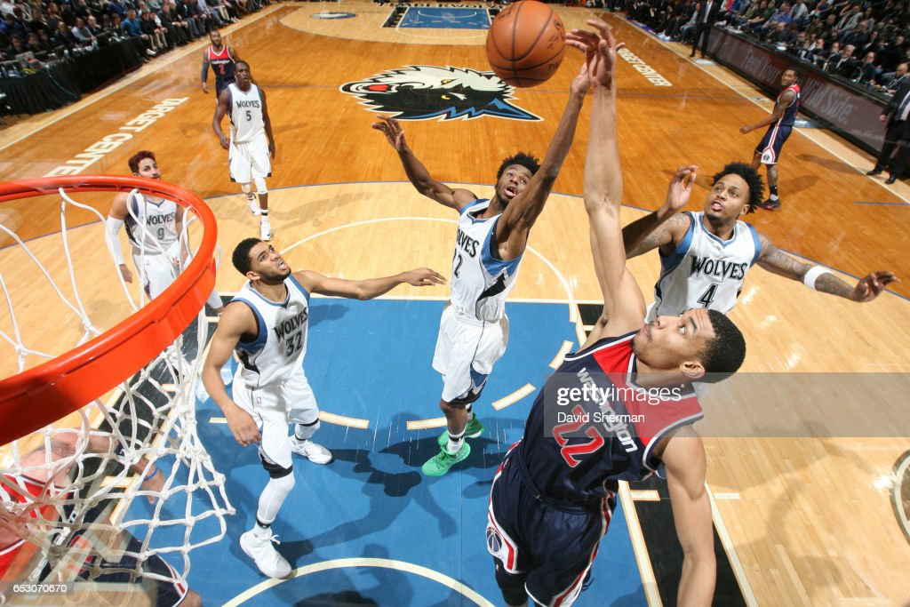Otto Porter Jr. #22 of the Washington Wizards goes up for a rebound during a game against the Minnesota Timberwolves on March 13, 2017 at Target Center in Minneapolis, Minnesota.