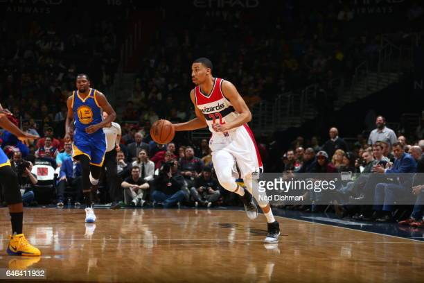 Otto Porter Jr #22 of the Washington Wizards handles the ball against the Golden State Warriors on February 28 2017 at Verizon Center in Washington...