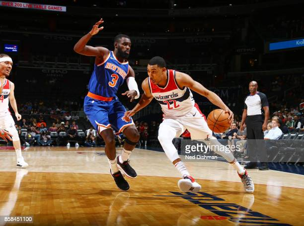 Otto Porter Jr #22 of the Washington Wizards handles the ball against the New York Knicks during the preseason game on October 6 2017 at Capital One...