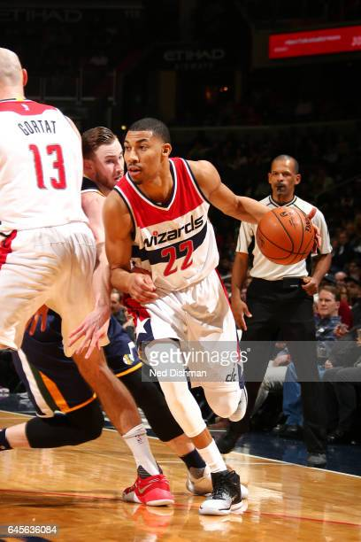 Otto Porter Jr #22 of the Washington Wizards handles the ball during the game against the Utah Jazz on February 26 2017 at Verizon Center in...