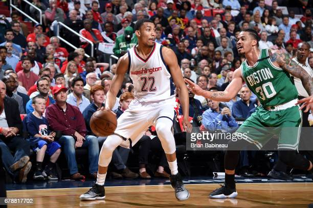 Otto Porter Jr #22 of the Washington Wizards handles the ball during the game against the Boston Celtics during Game Three of the Eastern Conference...