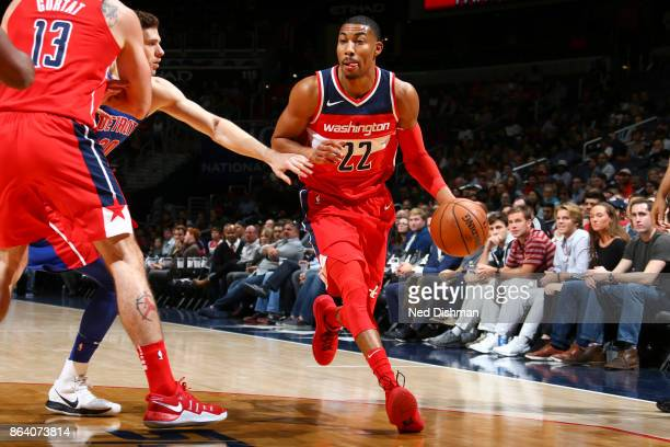 Otto Porter Jr #22 of the Washington Wizards handles the ball during game against the Detroit Pistons on October 20 2017 at Capital One Arena in...