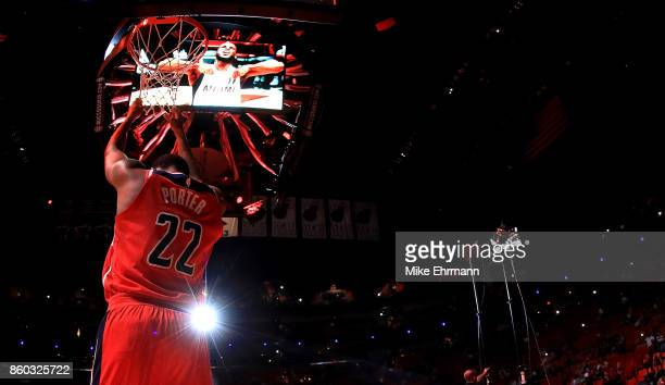 Otto Porter Jr #22 of the Washington Wizards looks on during a preseason game against the Miami Heat at American Airlines Arena on October 11 2017 in...