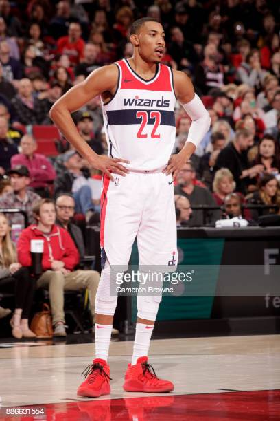 Otto Porter Jr #22 of the Washington Wizards looks on during the game against the Portland Trail Blazers on December 5 2017 at the Moda Center in...