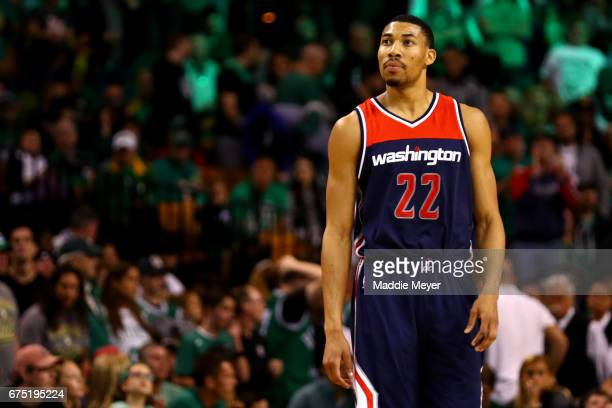 Otto Porter Jr #22 of the Washington Wizards looks on during the fourth quarter of Game One of the Eastern Conference Semifinals against the Boston...