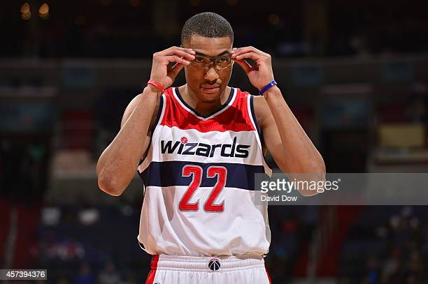 Otto Porter Jr #22 of the Washington Wizards prepares to play against the Charlotte Hornets during a game at the Verizon Center on October 17 2014 in...