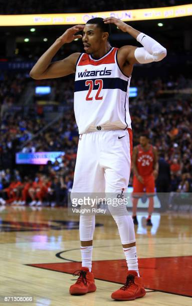 Otto Porter Jr #22 of the Washington Wizards reacts after a call by the referee during the second half of an NBA game at Air Canada Centre against...