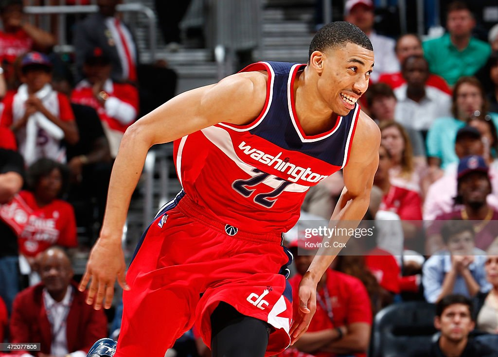 <a gi-track='captionPersonalityLinkClicked' href=/galleries/search?phrase=Otto+Porter+Jr.&family=editorial&specificpeople=10019906 ng-click='$event.stopPropagation()'>Otto Porter Jr.</a> #22 of the Washington Wizards reacts after a three-point basket against the Atlanta Hawks during Game One of the Eastern Conference Semifinals of the 2015 NBA Playoffs at Philips Arena on May 3, 2015 in Atlanta, Georgia.