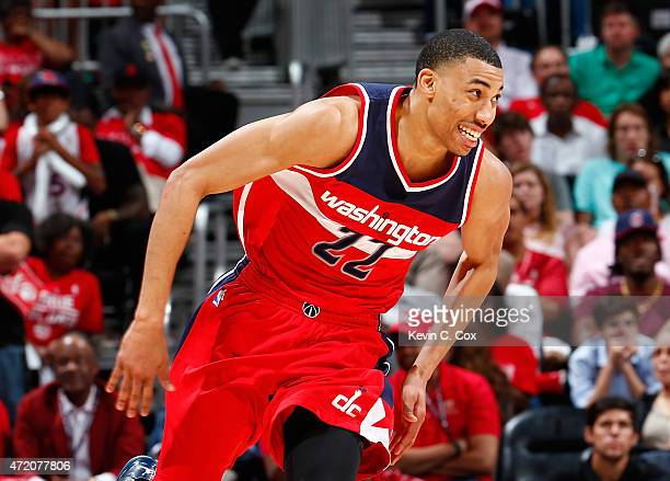 Otto Porter Jr #22 of the Washington Wizards reacts after a threepoint basket against the Atlanta Hawks during Game One of the Eastern Conference...