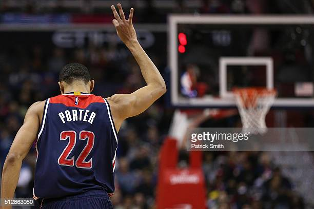 Otto Porter Jr #22 of the Washington Wizards reacts after scoring a threepointer against the Cleveland Cavaliers during the second half at Verizon...